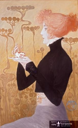 Sarah Bernhardt by Manuel Orazi (1898-1934) Celebrity chef Auguste Escoffier of the Savoy Hotel created the dessert, fraises à la Sarah Bernhardt, in her honour which consists of strawberries with pineapple and Curaçao sorbet.