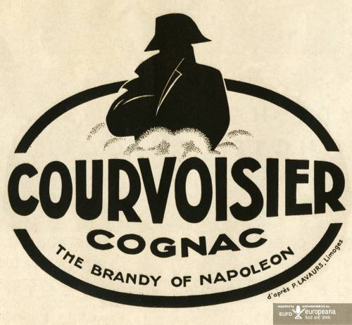 Advertisement for Courvoisier cognac - the brandy of Napoleon French distilleries named their best cognac Napoleon as a symbol of prestige and quality. Still used today Napoleon Brandy is known as XO, extra old, and designates a blend in which the youngest brandy is stored for at least six years. *** Local Caption *** Courvoisier cognac - a type of Napoleon Brandy.